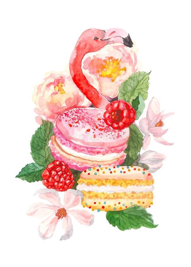 Illustration à la mode rose d'aquarelle de flamant et de macaron sur le fond blanc Fond exotique d'art Désert doux avec image stock