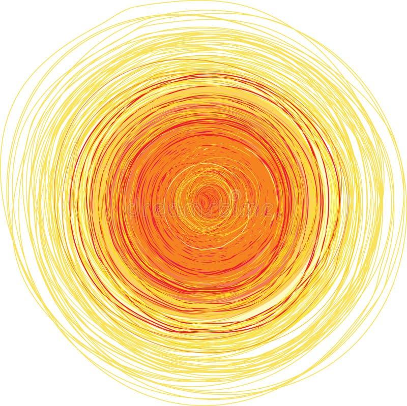 Illustration à main levée de vecteur du soleil brillant illustration stock