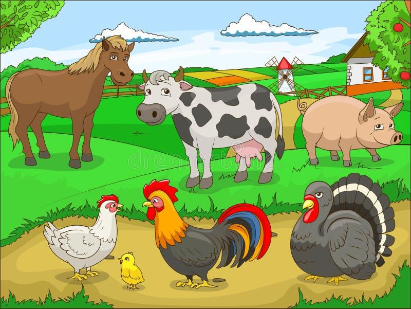 Illustration éducative de bande dessinée de ferme illustration de vecteur