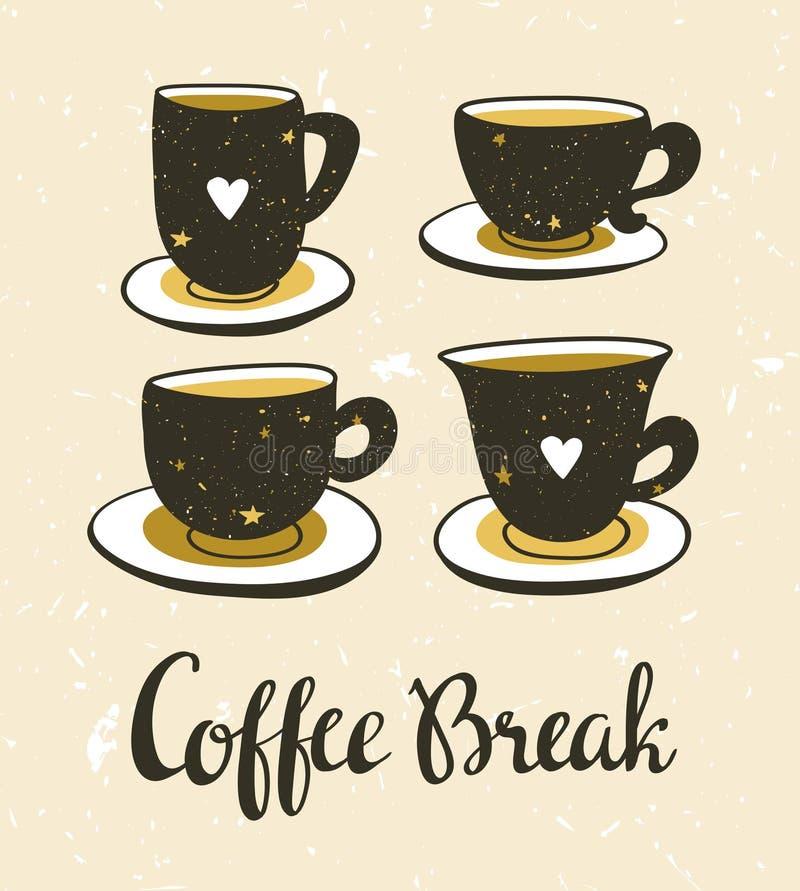 Illustration élégante avec la vie immobile du café Ensemble de cuvettes de café Conception d'affiche de hippie illustration libre de droits