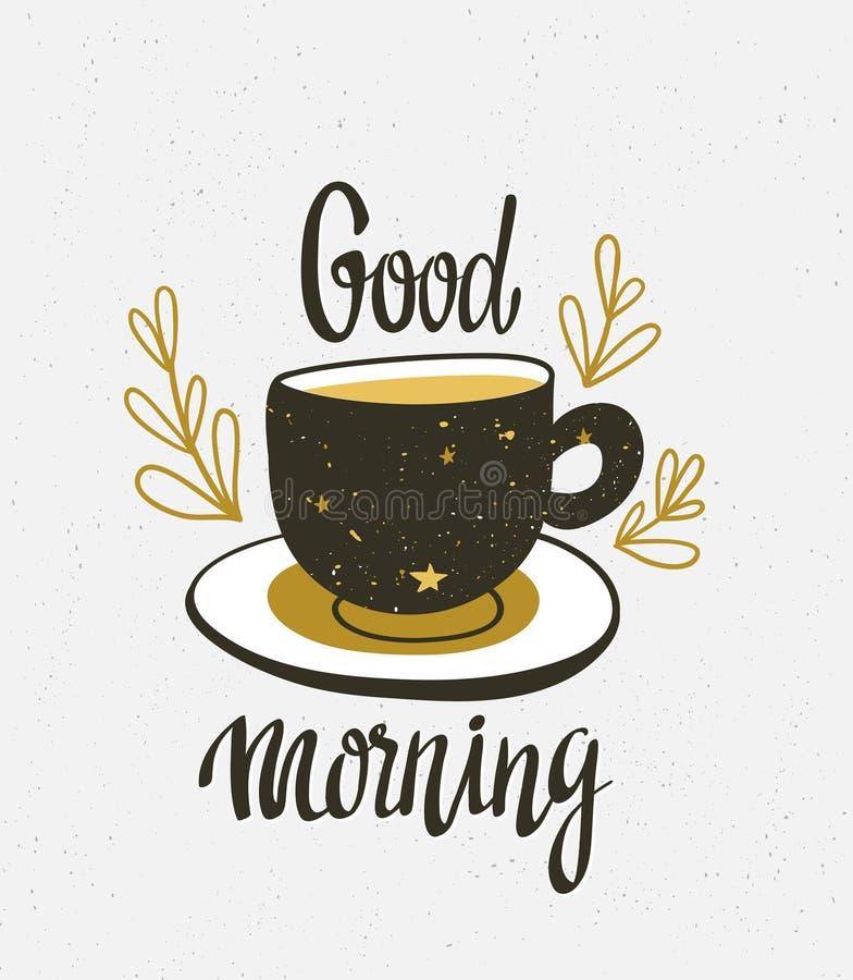 Illustration élégante de vecteur avec la tasse de café Conception d'affiche de hippie illustration libre de droits