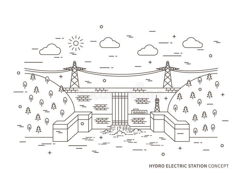 Illustration électrique hydraulique linéaire de vecteur de station illustration stock