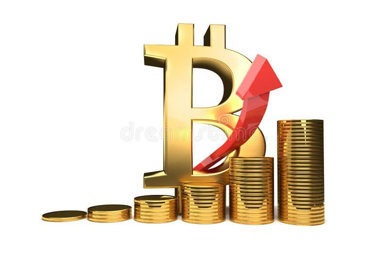 Illustration élevée de l'augmentation 3D de Bitcoin illustration stock