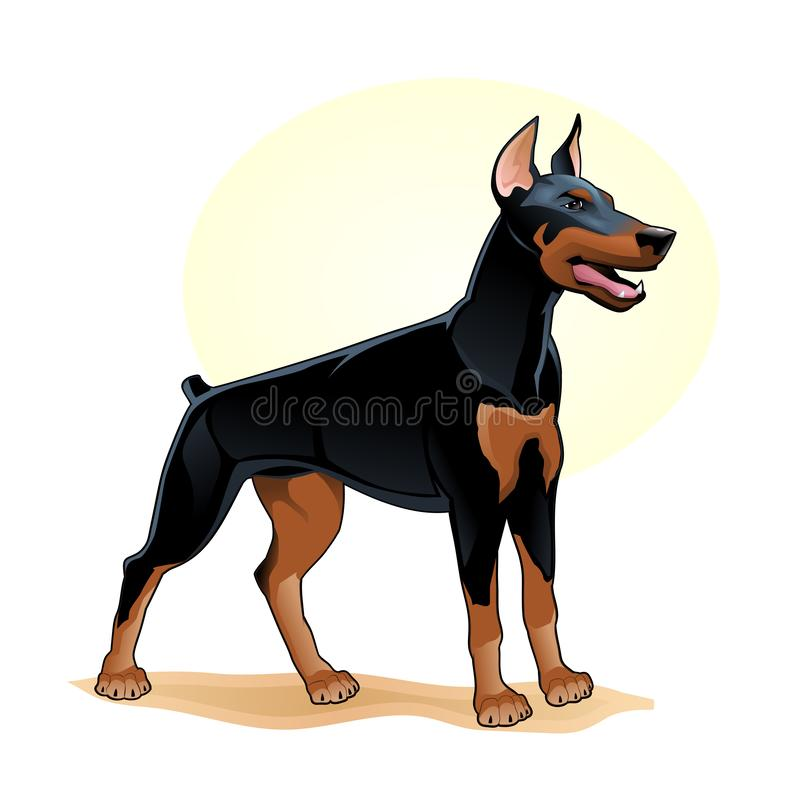 Illustration étonnante de vecteur de chien noir de couleur La bande dessinée drôle mignonne poursuit l'illustration de chienchien illustration stock