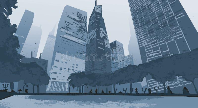 illustration Översiktsstadsskyskrapor Affärs- och turismbegrepp med royaltyfri illustrationer