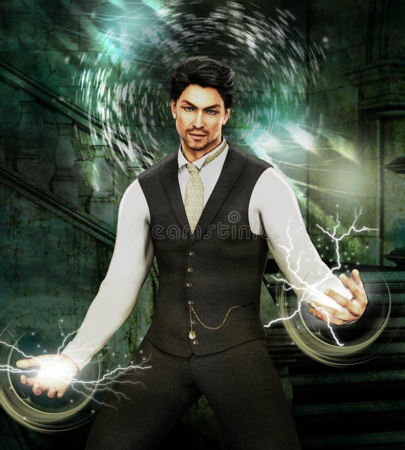 Illustration übertragene werfende Banne des magischen gut aussehenden Mannes vektor abbildung