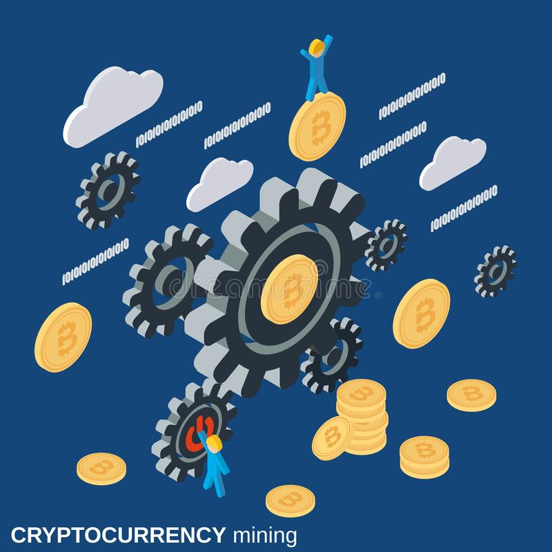 Cryptocurrency mining flat 3d isometric vector illustration. Cryptocurrency mining flat 3d isometric vector concept illustration vector illustration