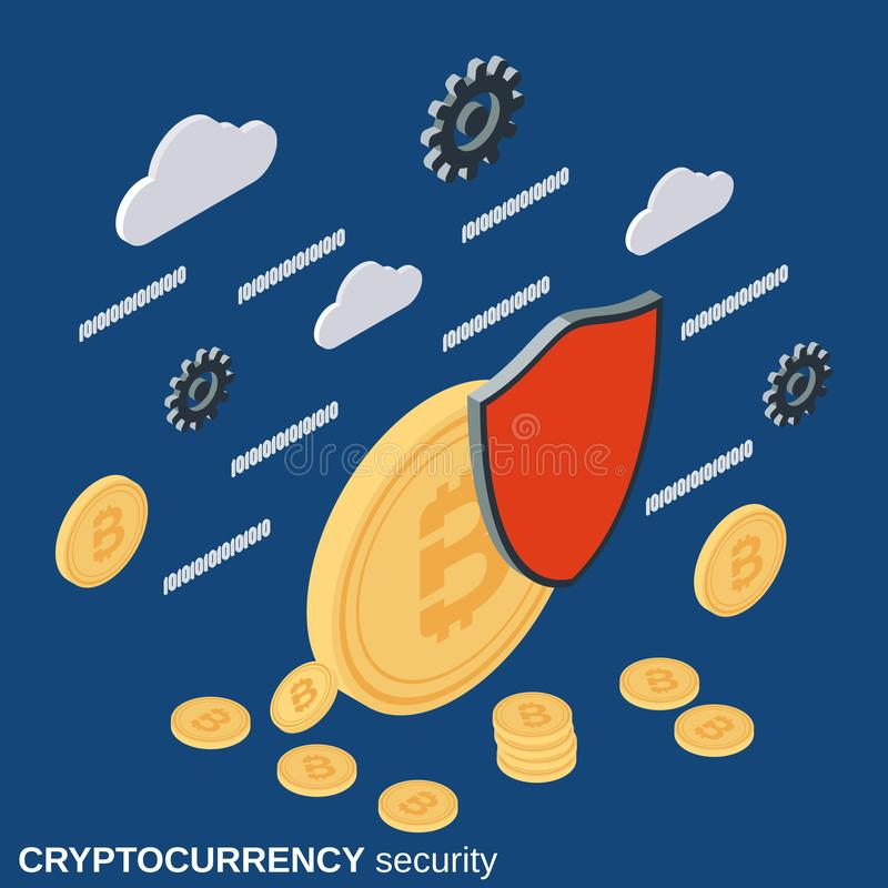Cryptocurrency security flat 3d isometric vector concept. Illustration vector illustration