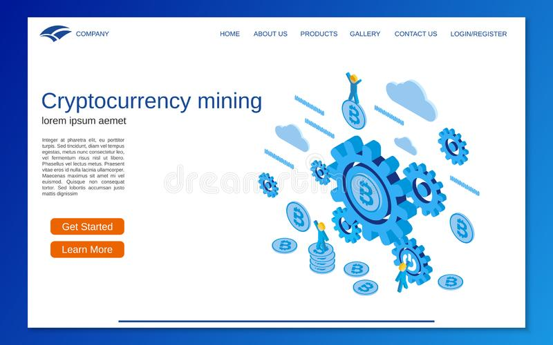 Cryptocurrency mining flat 3d isometric vector concept royalty free illustration