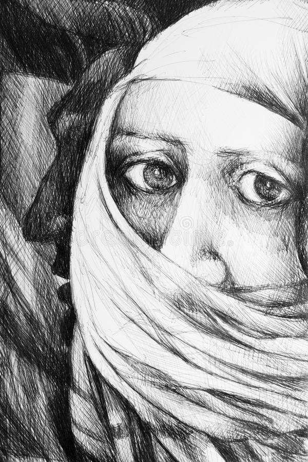Illustration. Photo of a drawing representing a face of a arab woman wearing a burka royalty free illustration