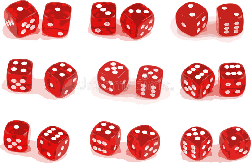 Illustration of 9 sets of dice. (layers included stock illustration