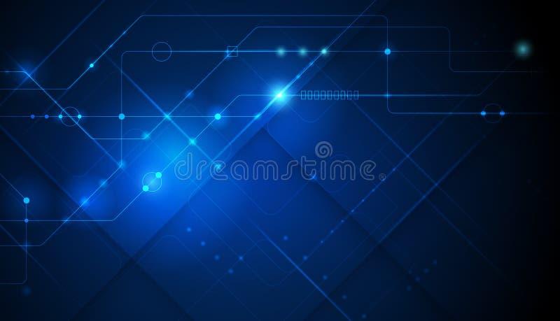 Vector design for abstract technology, communication, futuristic. Hi tech digital concept on dark blue background vector illustration