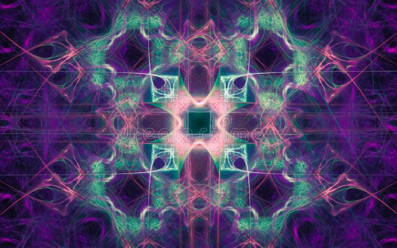Illustration of an abstract background in the form of an ornament of lilac, green color and lots of lines with a glowing middle royalty free illustration