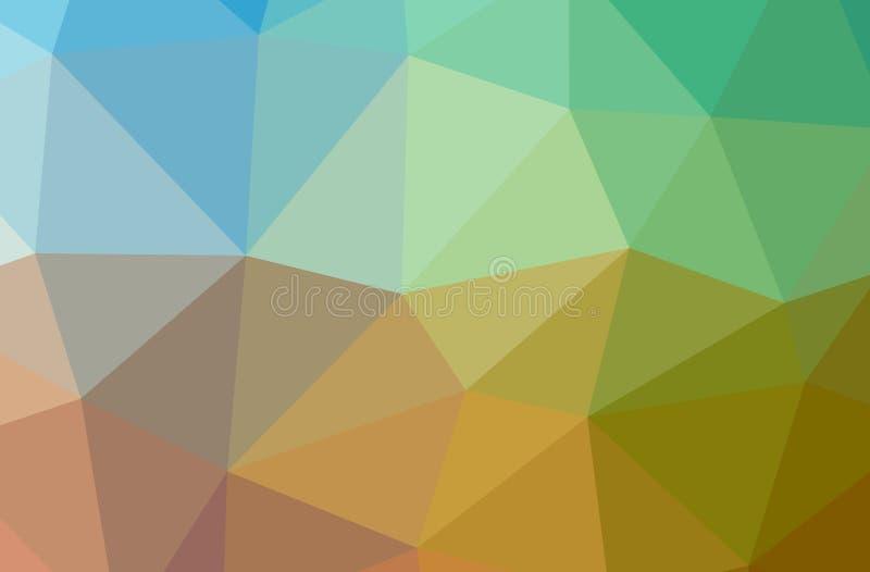 Illustration of abstract Blue, Green, Orange, Yellow horizontal low poly background. Beautiful polygon design pattern stock illustration
