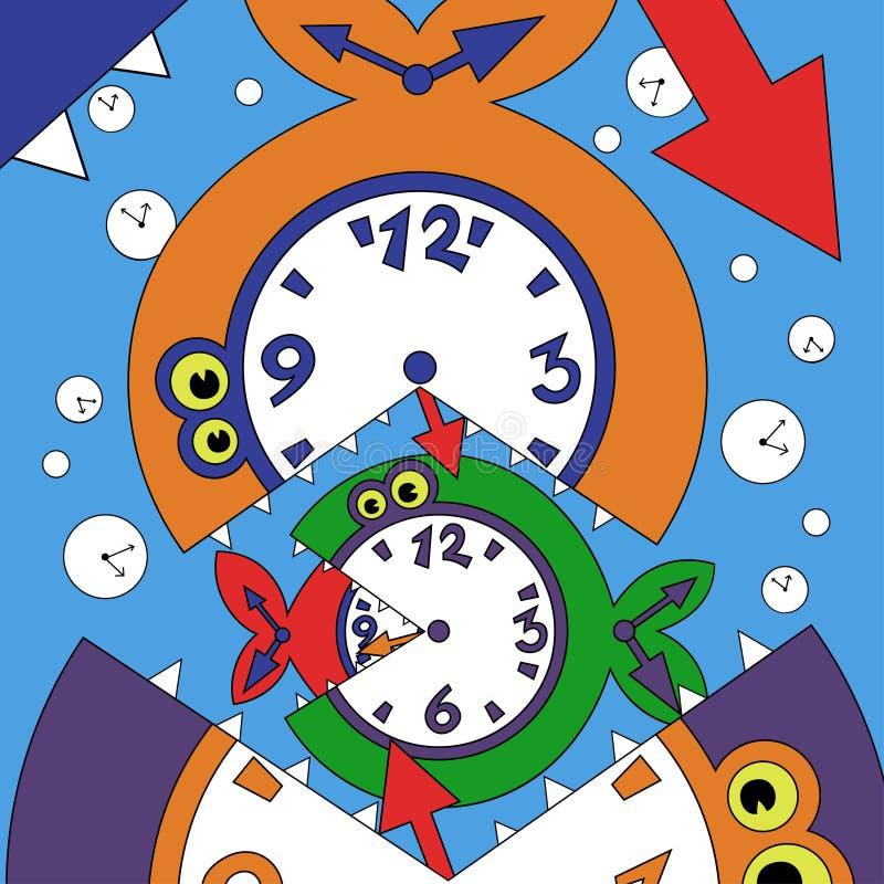 Illustration of abstract clock fish vector illustration