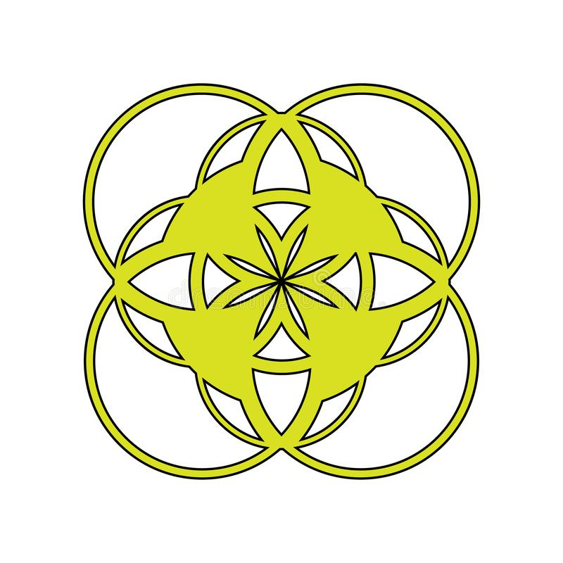 Illustration an abstract emblem, the logo, a symbol consisting of geometrical figures of yellow color with a black contour on a. White background vector illustration