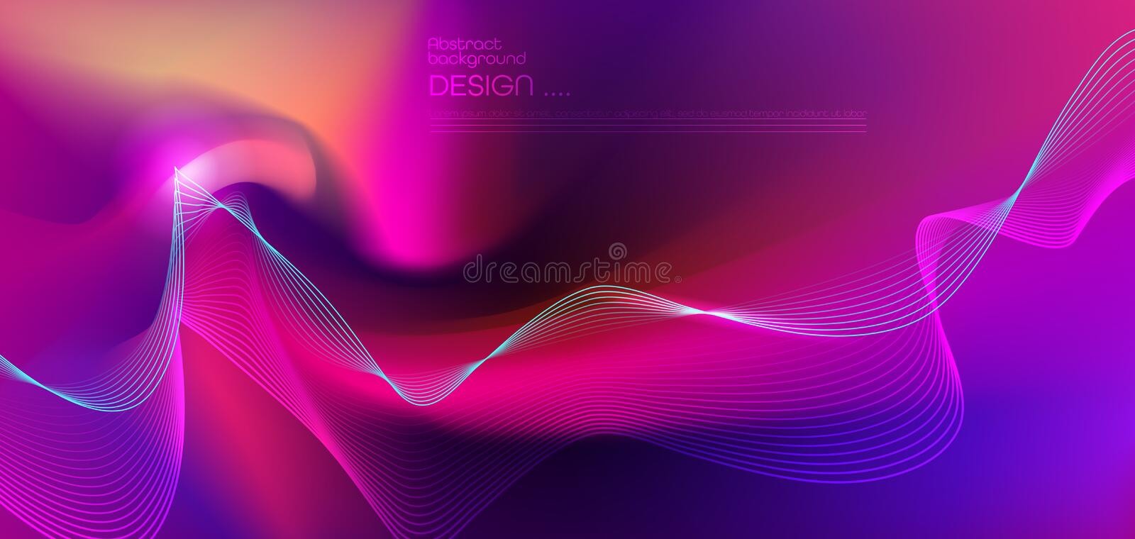 Illustration abstract glowing, neon light effect, strip line pattern on bright fluid gradient background. royalty free illustration