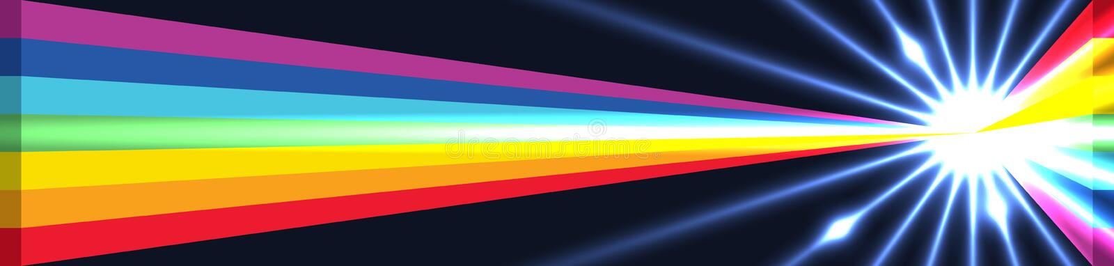 3d rainbow triangle golden ratio cut effect RGB. This illustration is abstract golden ratio calculation the rainbow position bright in banner size. RGB royalty free illustration