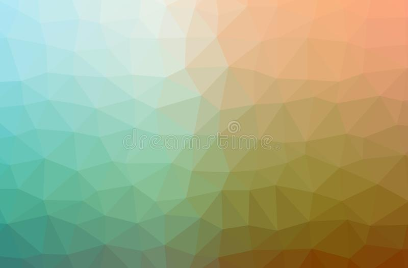 Illustration of abstract Green, Orange horizontal low poly background. Beautiful polygon design pattern royalty free illustration