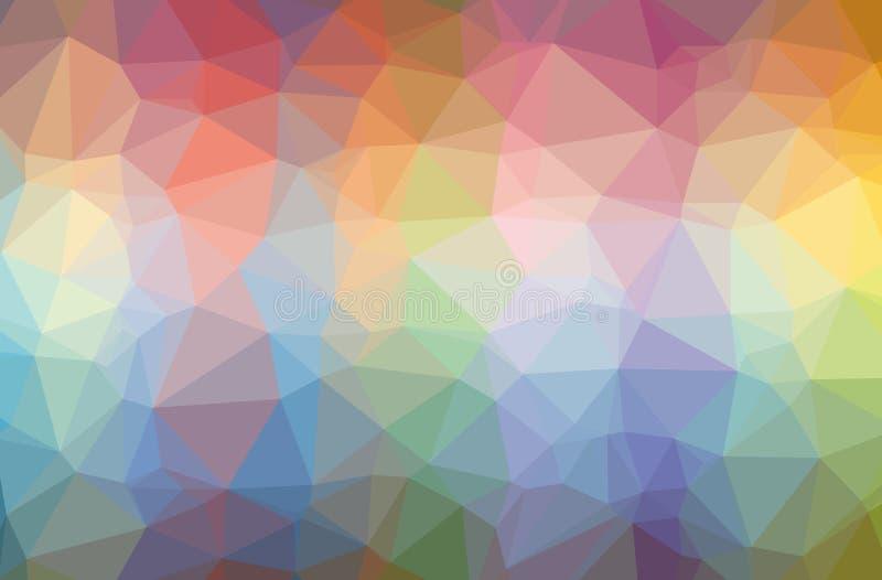 Illustration of abstract Green, Orange, Purple, Yellow horizontal low poly background. Beautiful polygon design pattern stock illustration