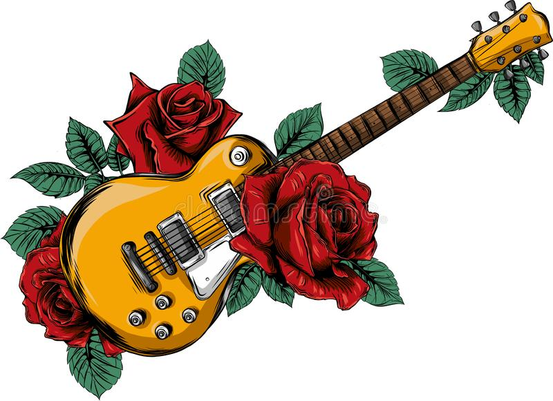 Illustration Abstract guitar with red rose. Vector royalty free illustration