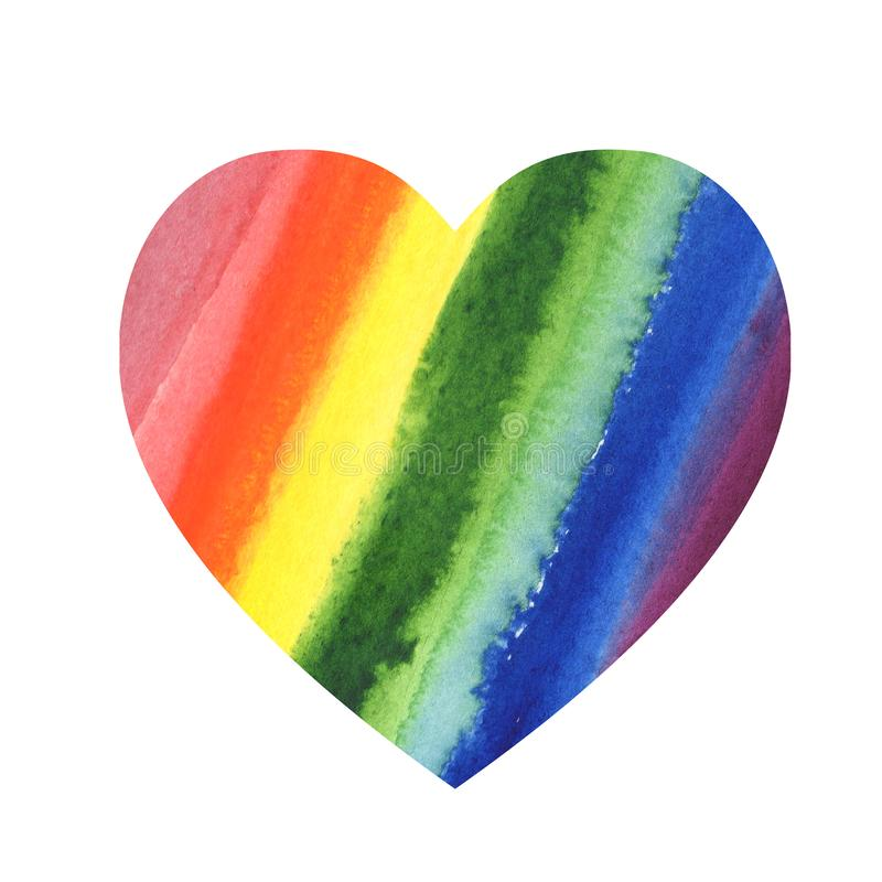 Illustration Abstract heart watercolor rainbow color blot background. royalty free illustration