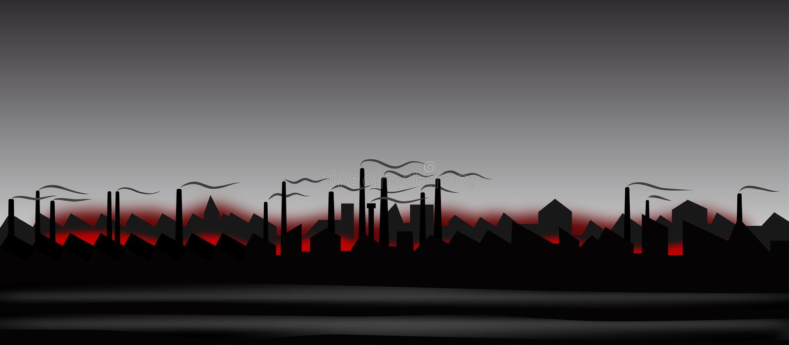 Abstract industrial landscape. Illustration of the abstract industrial landscape stock illustration