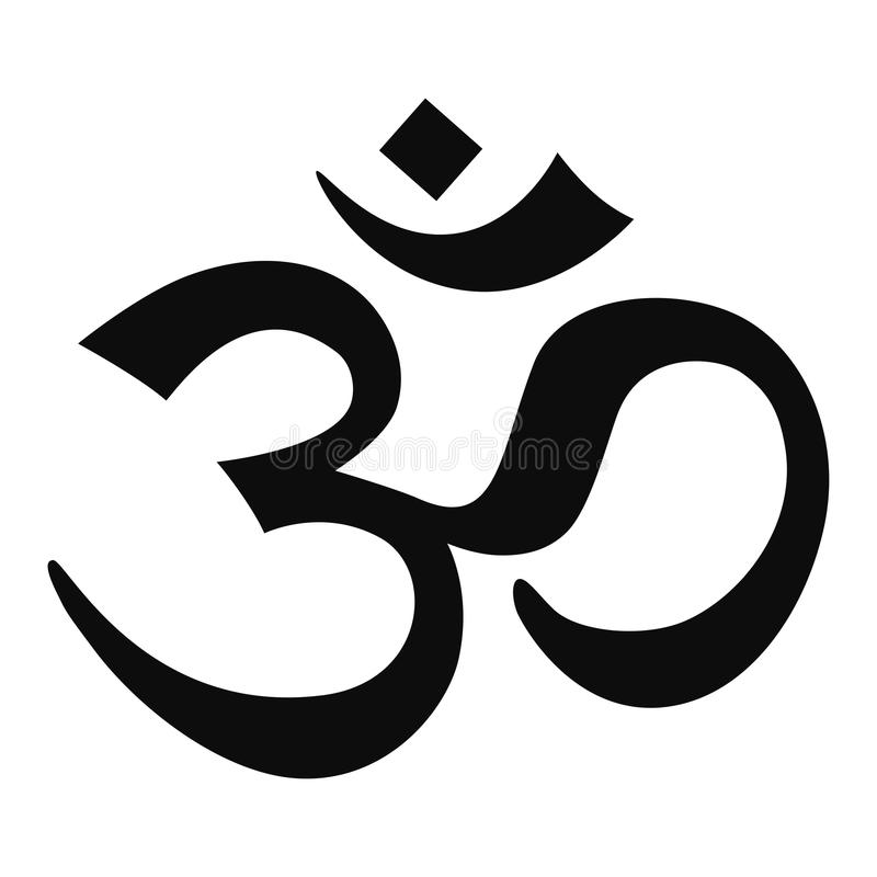 Hindu om sign. Illustration of abstract Hindu om or aum sign isolated on white background vector illustration