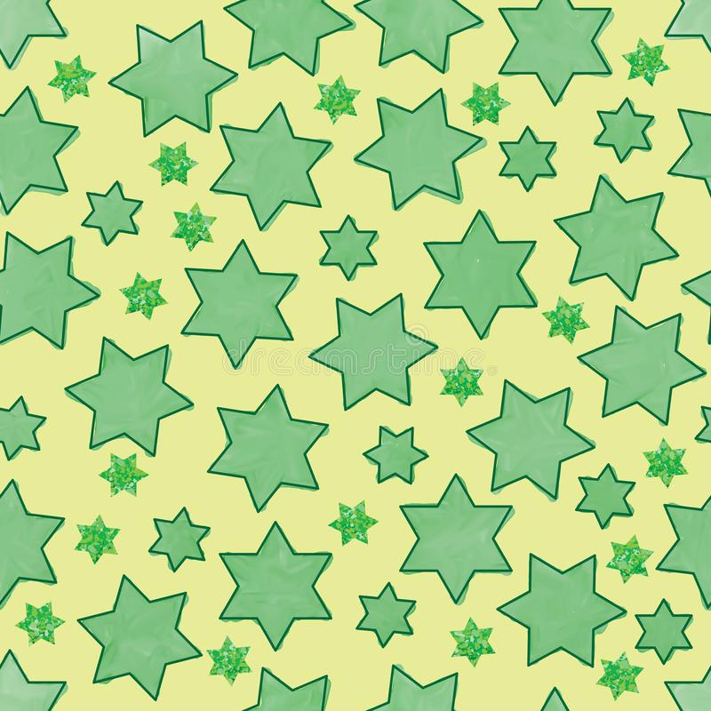 Six star watercolor green glitter seamless pattern. This illustration is abstract Islamic six star watercolor with green glitter background in yellow color vector illustration