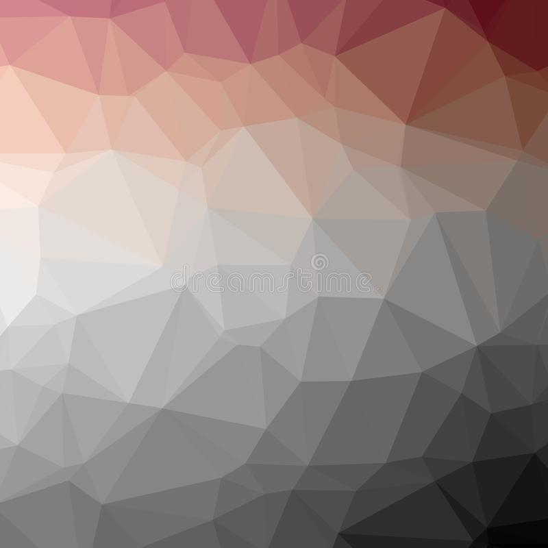 Illustration of abstract low poly red, blue, brown and black square background. royalty free illustration