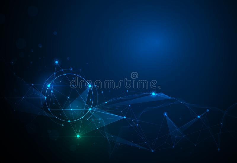Illustration Abstract Molecules and 3D Mesh with Circles, Lines, Geometric, Polygonal, Triangle pattern. Vector design communication technology on blue stock illustration