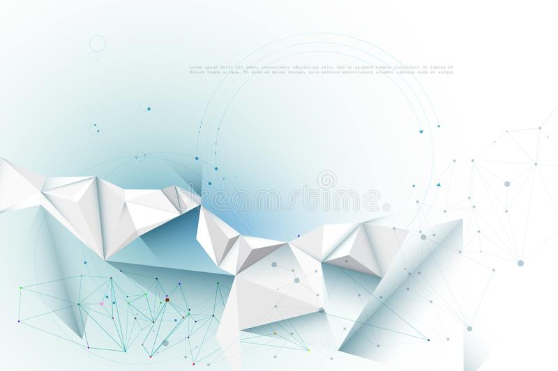 Illustration Abstract Molecules with Lines, Geometric, Polygon, Triangle pattern. Vector design network communication technology royalty free illustration