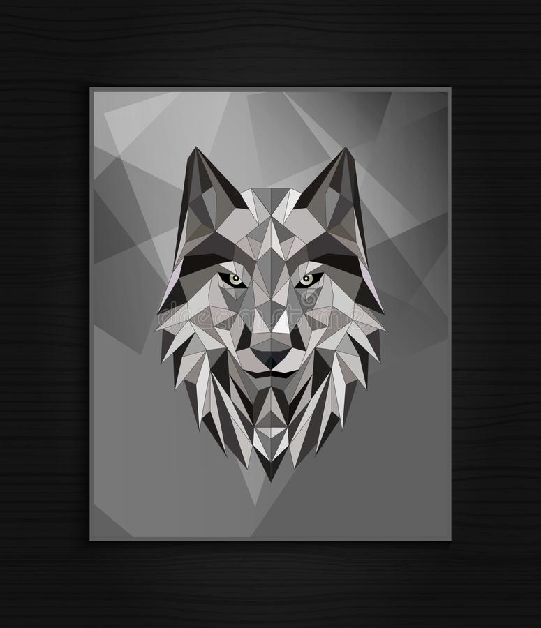 Abstract polygonal wolf head design royalty free stock images