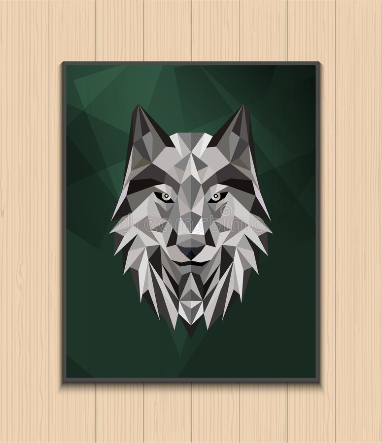 Abstract polygonal wolf head design royalty free stock image