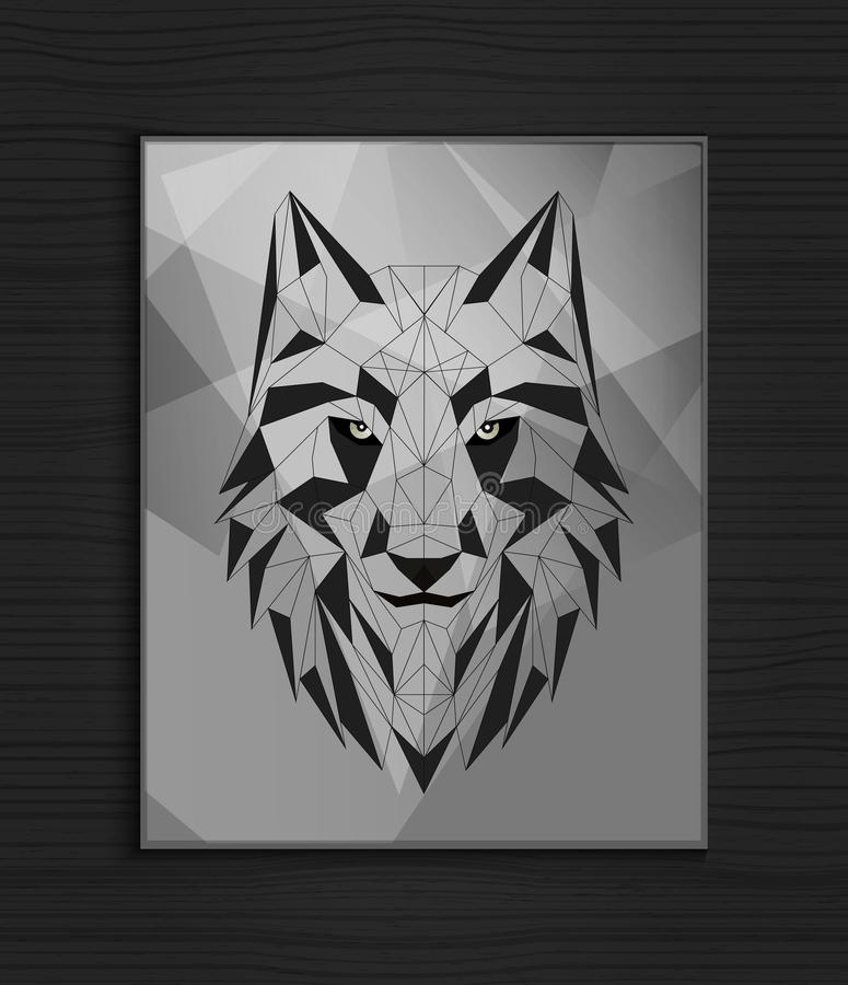 Abstract polygonal wolf head design stock images