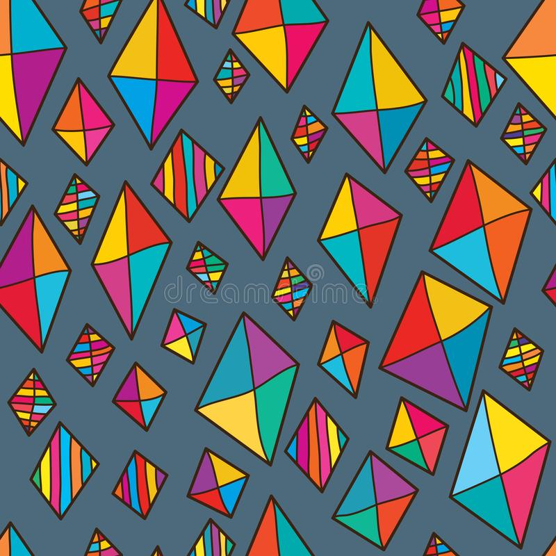 Kite diamond shape colorful seamless pattern. This illustration is abstract real freedom kite like not tail and diamond shape bright in colorful seamless pattern stock illustration