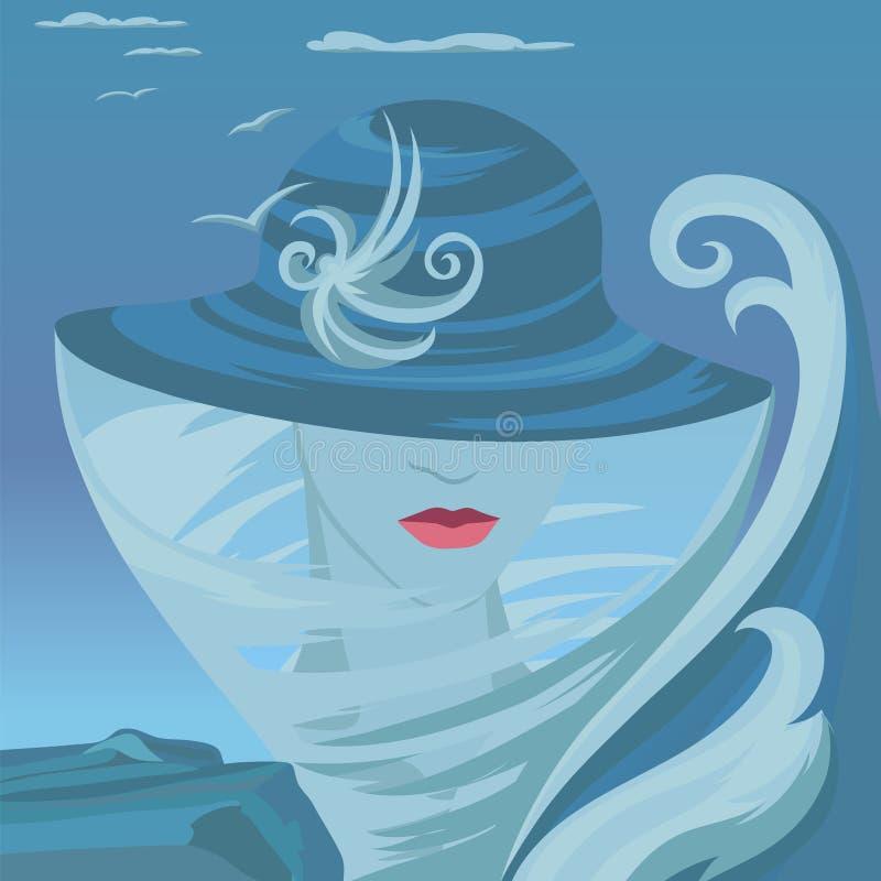 Illustration abstraite avec la femme et la mer illustration de vecteur
