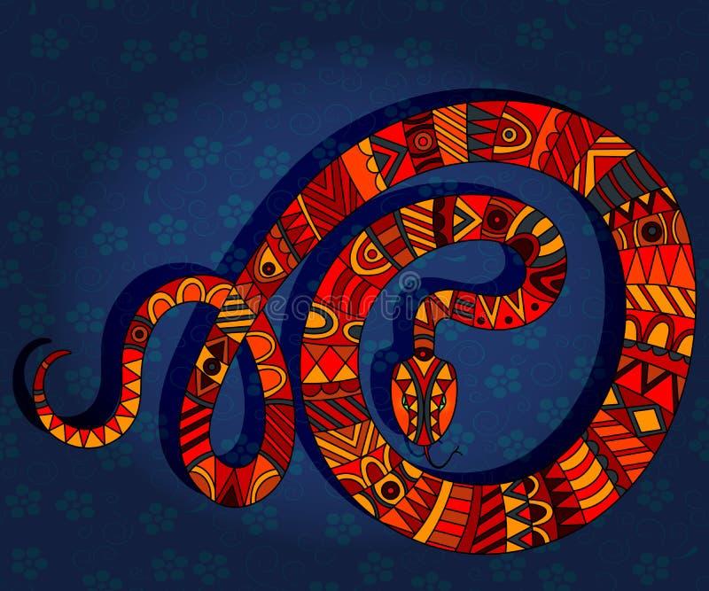 Illustration abstraite avec le serpent rouge sur un fond floral bleu-foncé illustration stock
