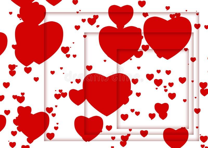 Illustration abstraite avec les coeurs et les ombres rouges illustration stock
