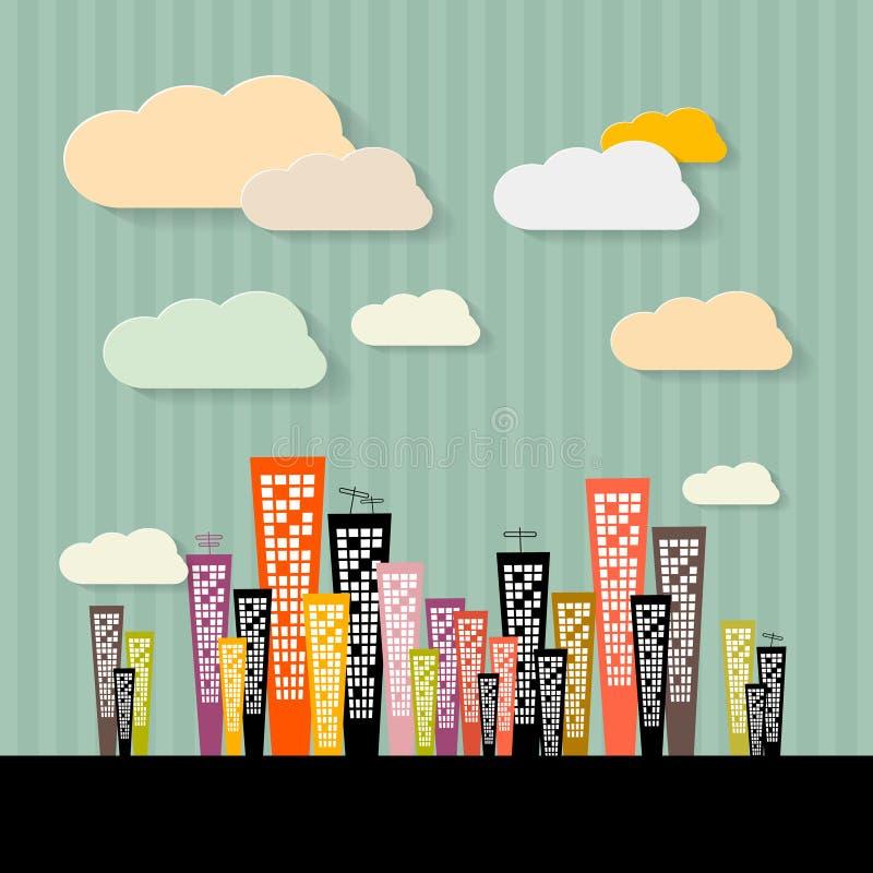 Illustration abstraite colorée de bâtiments illustration stock