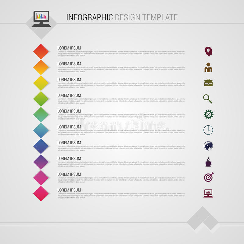 Illustration abstraite colorée plate de vecteur d'infographics de chronologie avec des places illustration de vecteur
