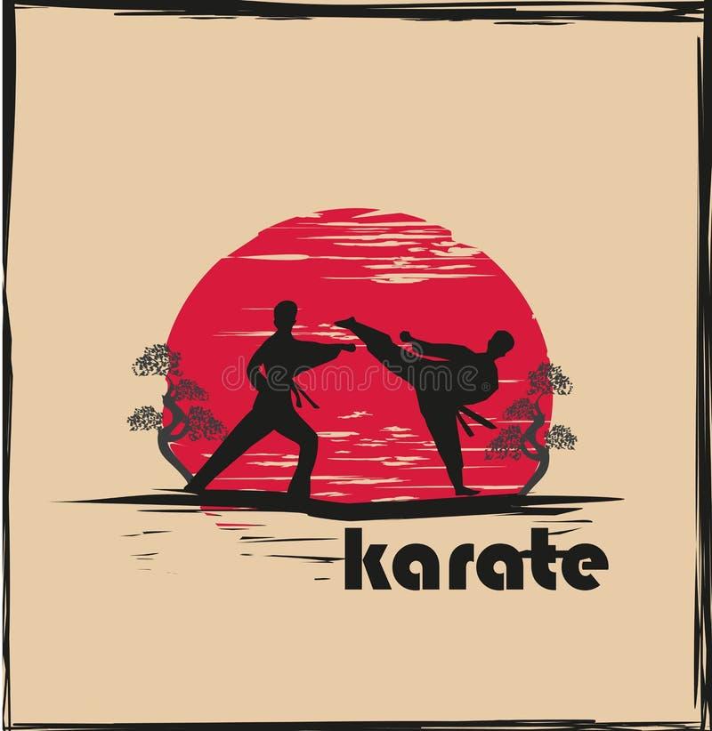Illustration abstraite créative des combattants de karaté illustration de vecteur
