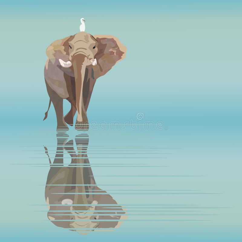 Illustration abstraite d'aquarelle d'un grand éléphant avec le petit oiseau blanc illustration stock