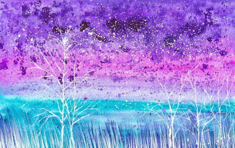 Illustration abstraite d'aquarelle d'un paysage de nuit avec la neige en baisse sur le champ et les buissons illustration libre de droits