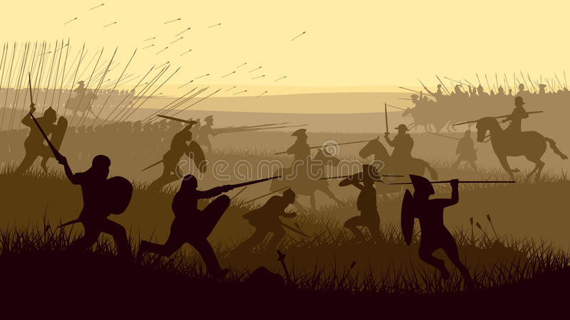 Illustration abstraite de bataille médiévale. illustration stock