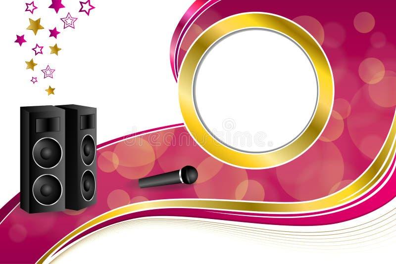Illustration abstraite de cadre de cercle de ruban d'or jaune de rose d'étoile de haut-parleur de microphone de karaoke de fond illustration stock