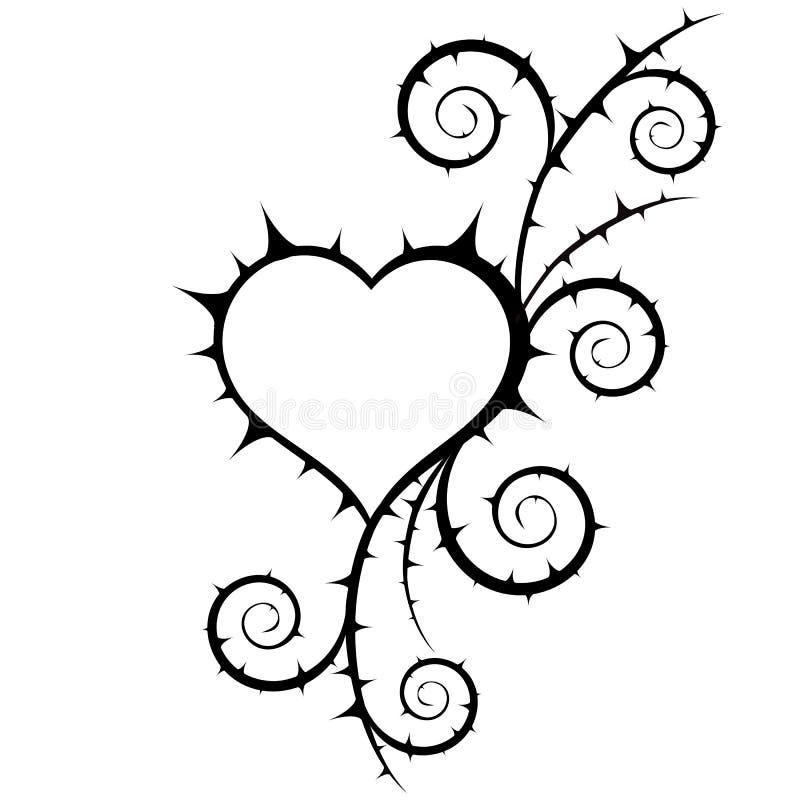 Illustration abstraite de coeur et de buisson Élément floral illustration de vecteur