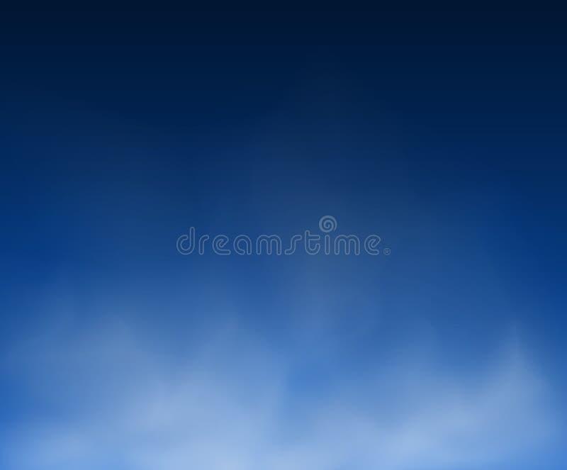 Illustration abstraite abstraite de l'espace de vecteur de milieux bleus d'abrégé sur nuage et de copie de composition en fumée illustration stock
