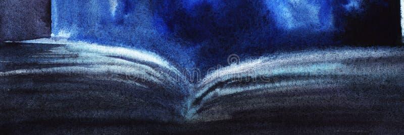 Illustration abstraite de livre ouvert Texture de papier d'aquarelle, illustration stock