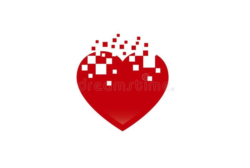 Illustration abstraite de Logo Love Pixel Symbol Design de forme de coeur illustration de vecteur